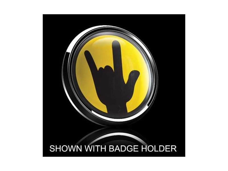 Dome Style 3 Inch Magnetic Badge - Rockon Yellow