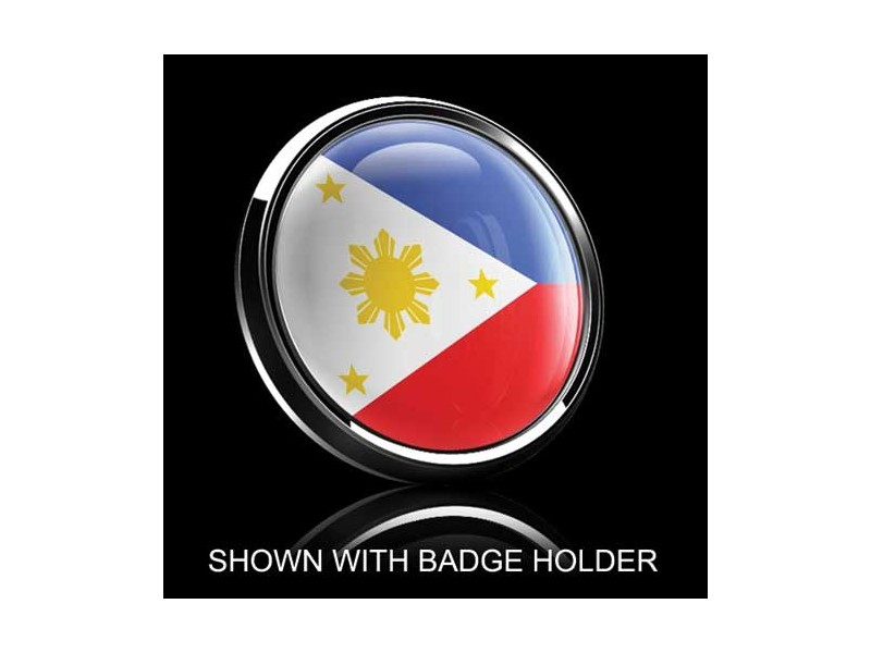 Dome Style 3 Inch Magnetic Badge - Philippine Flag
