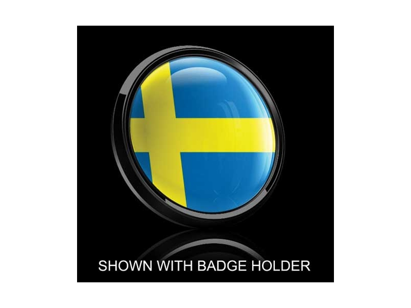 Dome Style 3 Inch Magnetic Badge - Swedish Flag