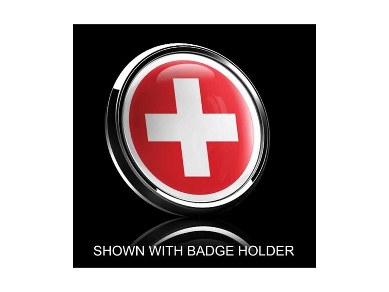 Dome Style 3 Inch Magnetic Badge - Swiss Flag