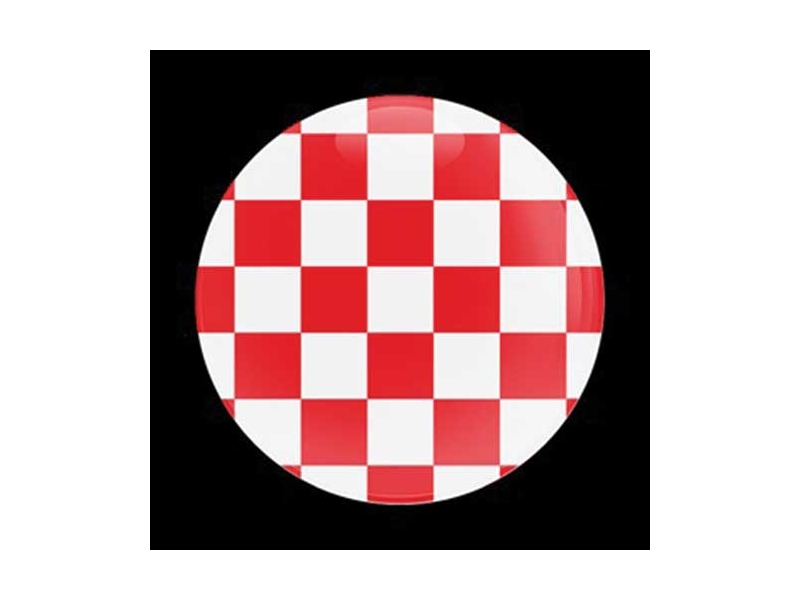 Dome Style 3 Inch Magnetic Badge - Red Checker