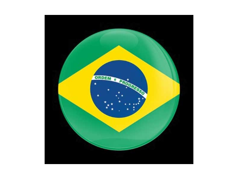 Dome Style 3 Inch Magnetic Badge - Flag Brazil