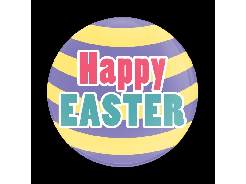 Dome Style 3 Inch Magnetic Badge - Happy Easter