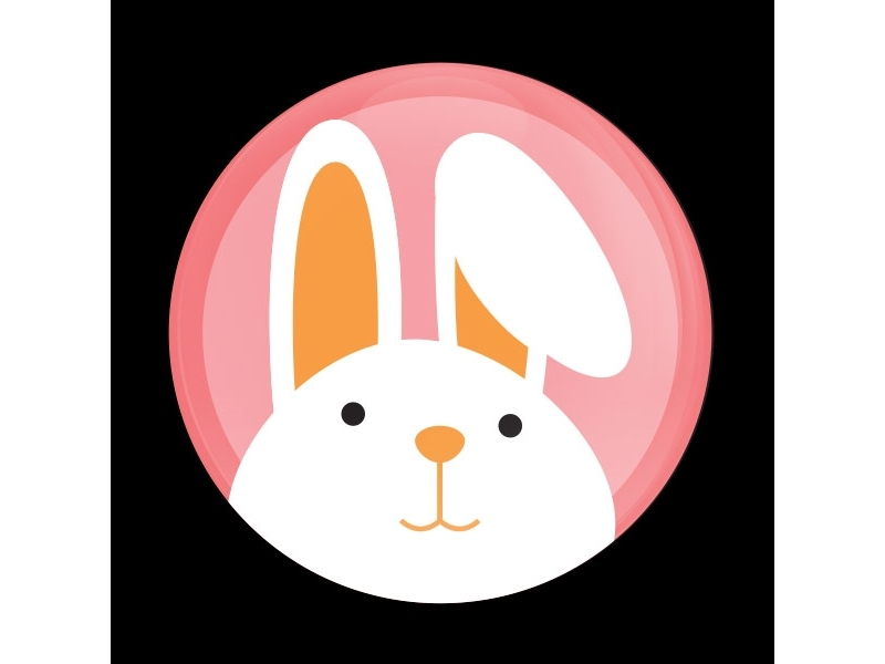 Dome Style 3 Inch Magnetic Badge - Easter Bunny