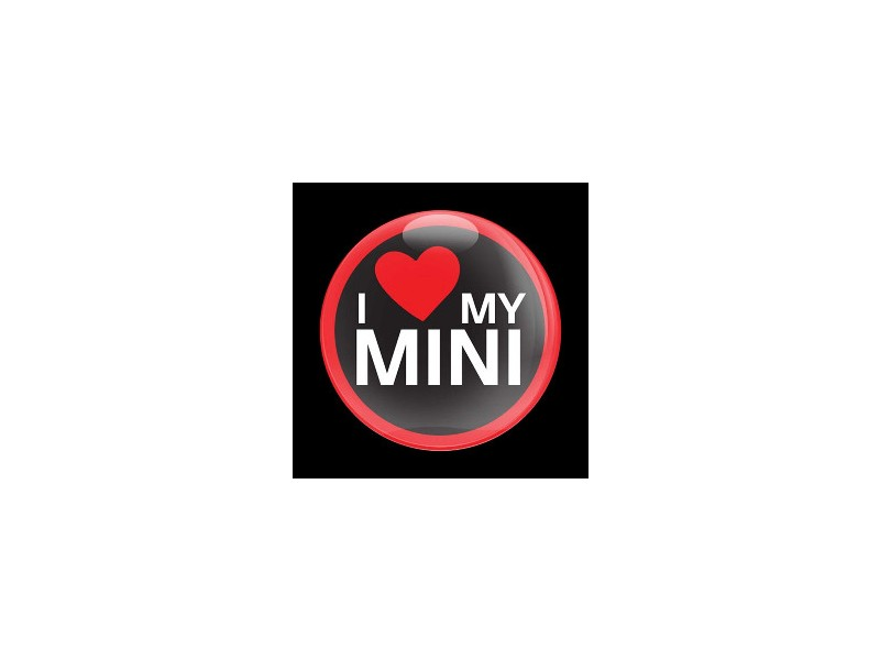 Mini Cooper Badge Dome Style Magnetic Love My Mini Red