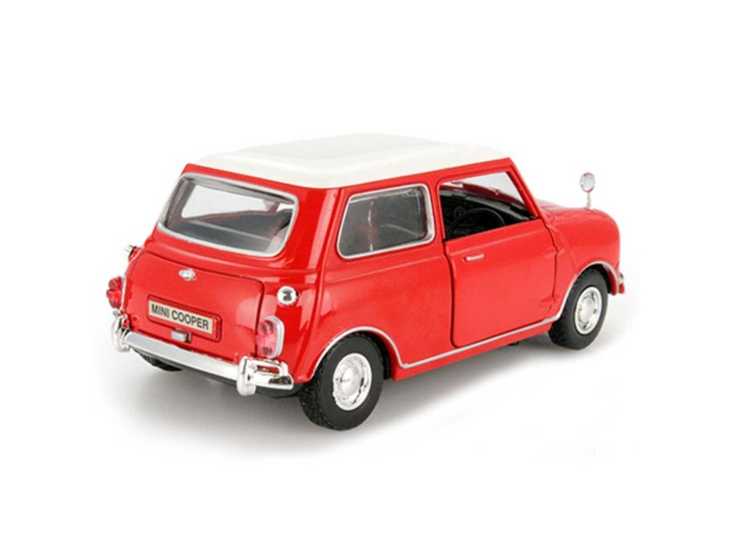 Classic Mini Cooper Red W/ White Roof 1:18 Die Cast