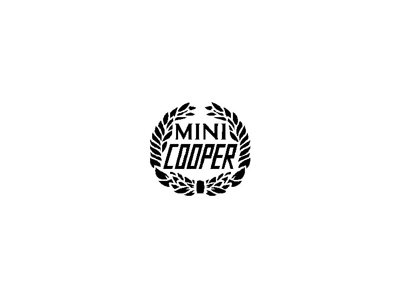 Austin Mini Decal Black Wreath 'mini Cooper