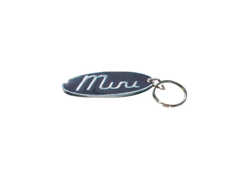 Black Mini Script Metal Oval Key Ring Fob