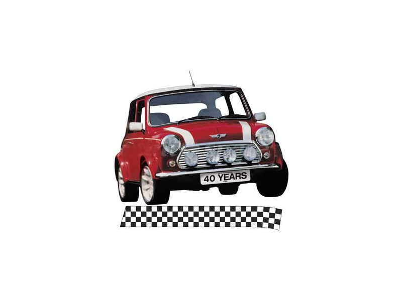 Austin Mini Late Bonnet Stripes White Sold In Pairs