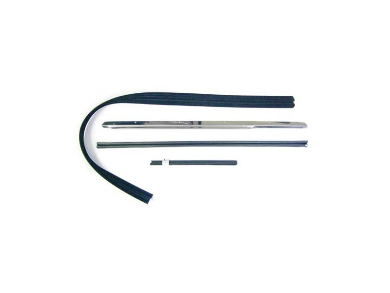 Classic Austin Mini Sliding Window Weatherstrip And Chrome Kit Left Hand Side