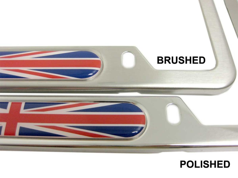 License Plate Frame Union Jack Each - Brushed Or Polished Stainless Steel