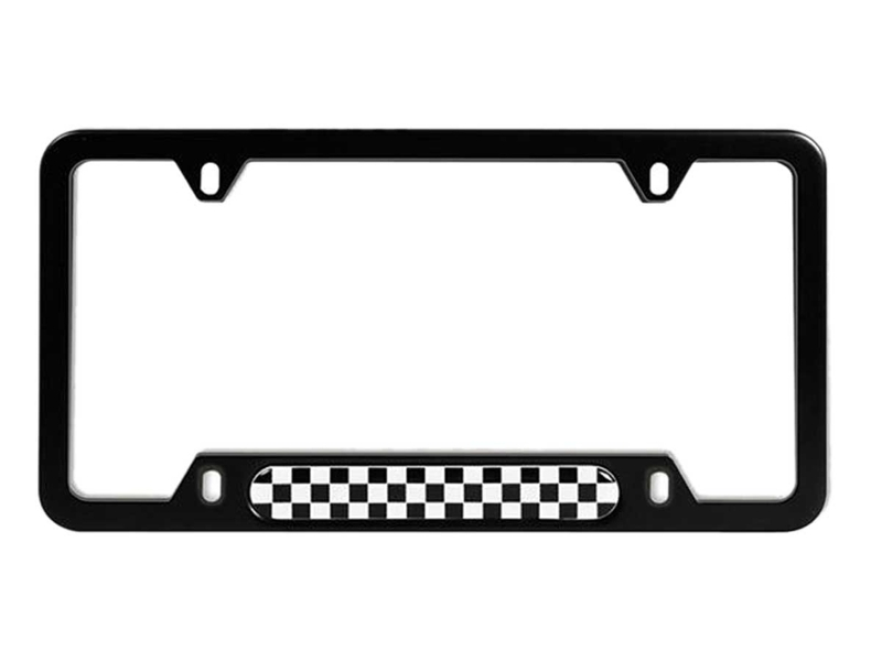 License Plate Frame Black With Checkeres