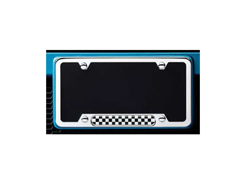 License Plate Frame - Checkered Pattern - Polished