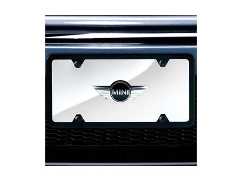 Mini Logo Marque License Plate Insert - Polished Background
