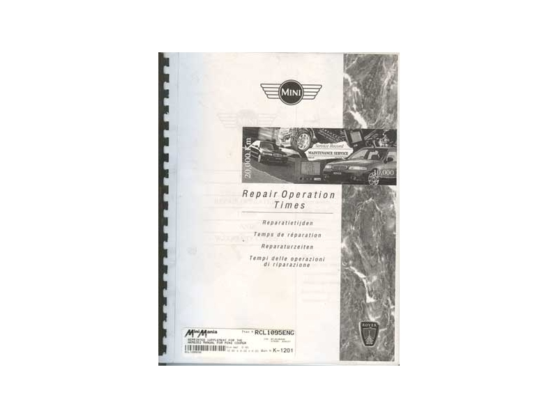 Reprinted Supplement For The Akm6353 Manual For Mini Cooper