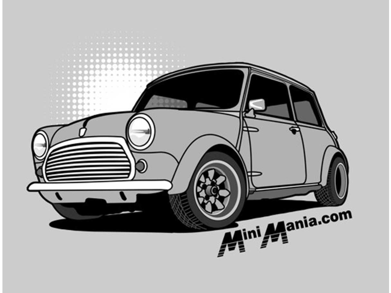 Mini Cooper Tshirt Ladies Classic Grey On Grey Sh
