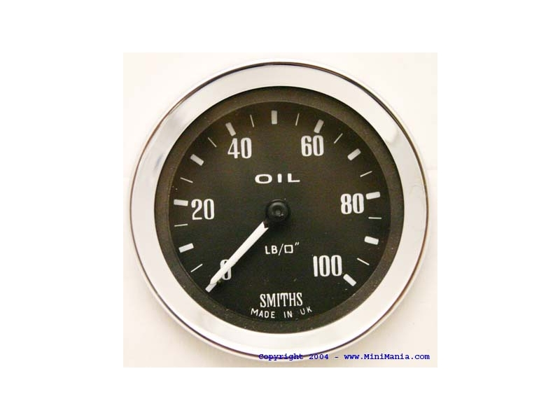Classic Austin Mini Smiths Mechanical Oil Pressure Gauge Black 0-100 Lbs.