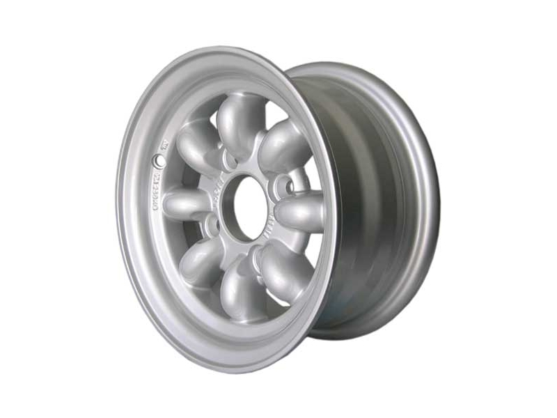 Austin Mini 5x10 Minilight Wheel By John Brown Wheels Silver With Lugs And Caps